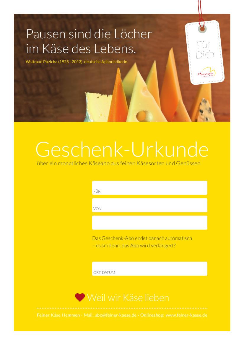 Käseabo Gutschein gelb