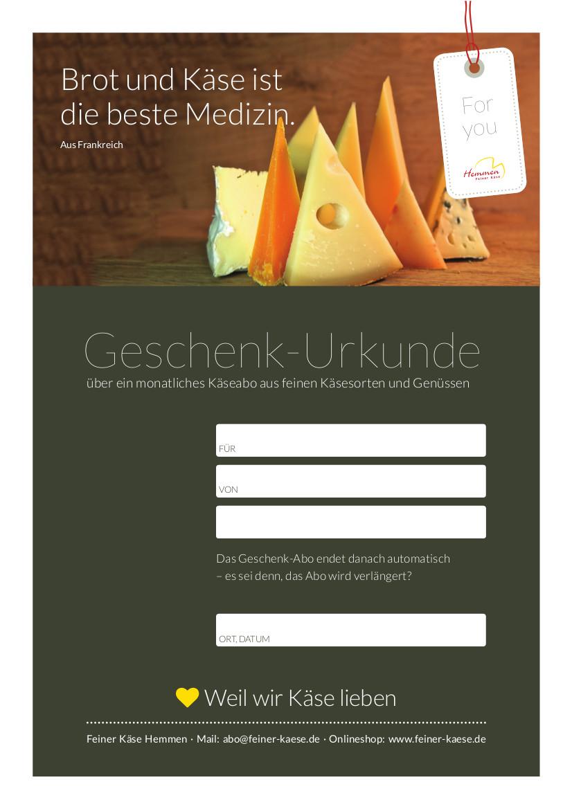 Käseabo Gutschein grau