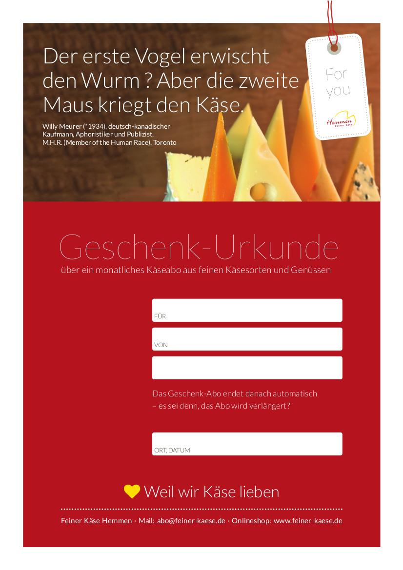 Käseabo Gutschein rot